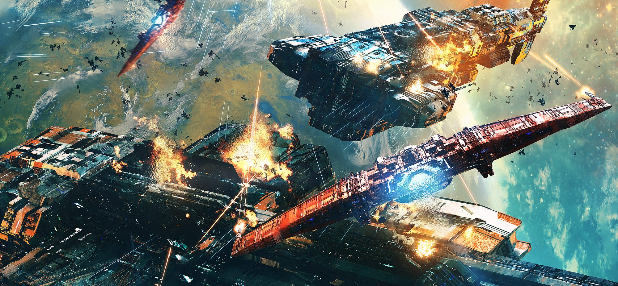 Illustration by Tom Edwards. spaceship fighting. All rights reserved by Tom Edwards